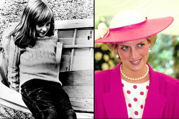Diana Spencer à 9 ans, le 5 août 1970 (à gauche) et à l'âge adulte, photo non datée (à droite)
