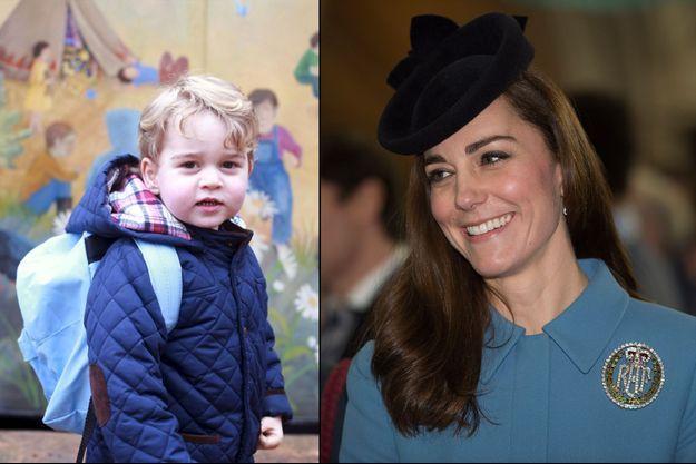 Le prince George pour son premier jour d'école le 6 janvier 2016 - La duchesse Catherine de Cambridge à Londres aux 75 ans des Cadets de l'Air, le 7 février 2016