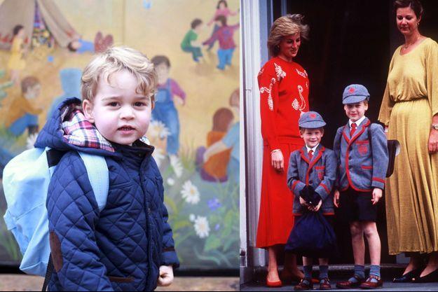 Le prince George à la Westacre Montessori School Nursery le 6 janvier 2016 - Les princes Harry et William avec leur mère Lady Diana à la Wetherby school à Londres le 11 septembre 1989