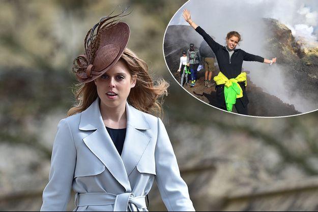 La princesse Beatrice d'York le 27 mars 2016. En médaillon, au sommet de l'Etna, le 29 septembre 2016