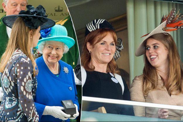 La princesse Beatrice d'York avec sa grand-mère la reine Elizabeth le 18 juin 2016 et avec sa mère Sarah Ferguson le 23 juin 2017
