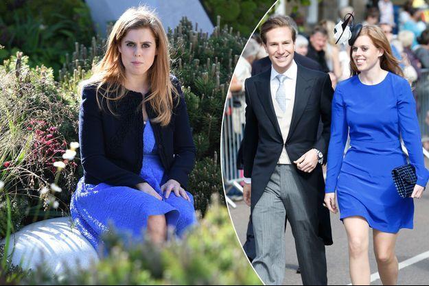 La princesse Beatrice d'York le 22 mai 2017. A droite, Beatrice avec Dave Clark en juin 2013