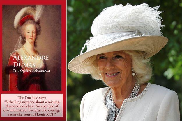 La duchesse de Cornouailles Camilla à Alrewas, le 15 août 2020. A gauche, son commentaire sur «Le Collier de la Reine» d'Alexandre Dumas