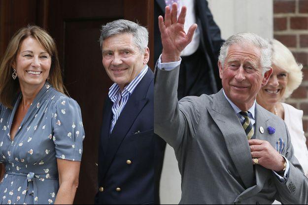 Carole Middleton et son mari Michael, le prince Charles et Camilla à la naissance du prince George, le 23 juillet 2013.