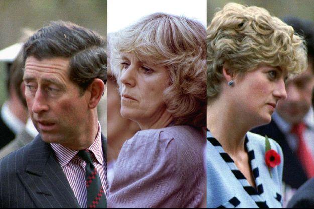 Camilla en 1992, entre Charles et Diana la même année.