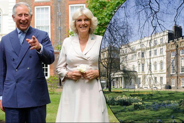 Le prince Charles et Camilla Parker-Bowles dans les jardins de Clarence House à Londres, le 21 juin 2012 - Le palais en 2003