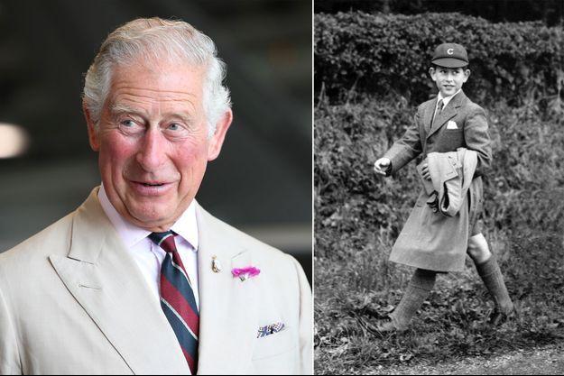Le prince Charles le 27 juillet 2018. A droite, le tout jeune prince de Galles, le 27 juillet 1958