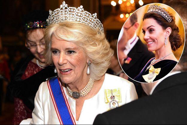Camilla Parker-Bowles, duchesse de Cornouailles, le 4 décembre 2018. En vignette Kate Middleton, duchesse de Cambridge, le 11 décembre 2019