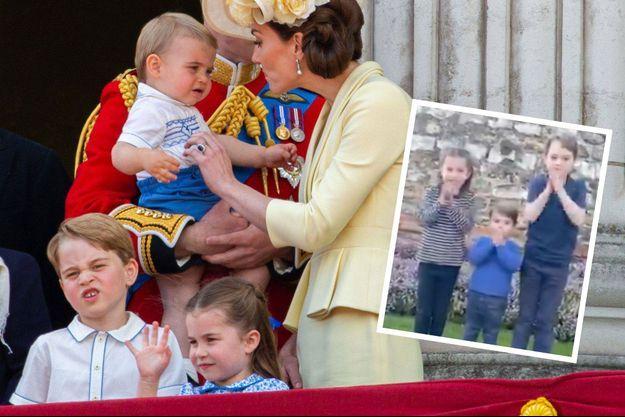Charlotte, Louis et George et leurs parents le 8 juin dernier lors de la cérémonie Trooping the colour. En médaillon, les enfants applaudissent les soignants.