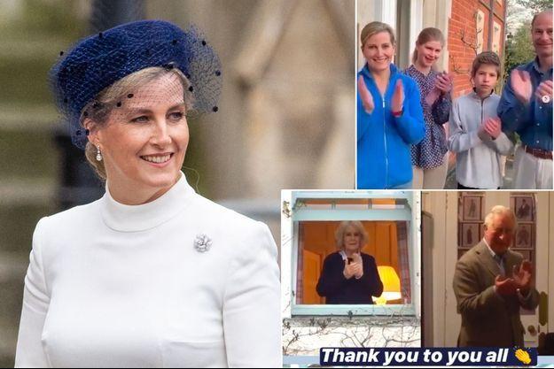 La comtesse Sophie de Wessex, le 9 mars 2020. En vignette, Camilla Parker-Bowles et le prince Charles, et le prince Edward et sa famille, le 26 mars 2020