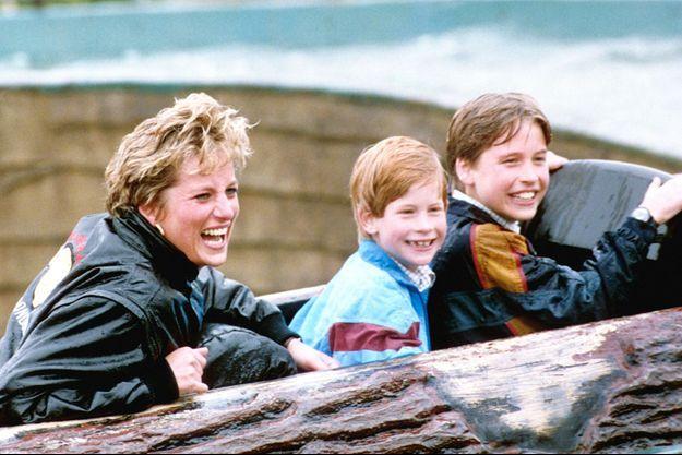 Lady Diana et ses fils les princes Harry et William le 13 avril 1993