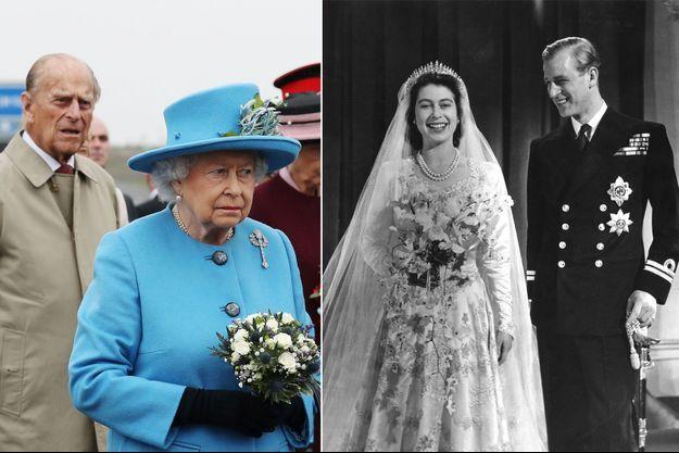 La reine Elizabeth II et le prince Philip le 4 septembre 2017. A droite, le jour de leur mariage le 20 novembre 1947