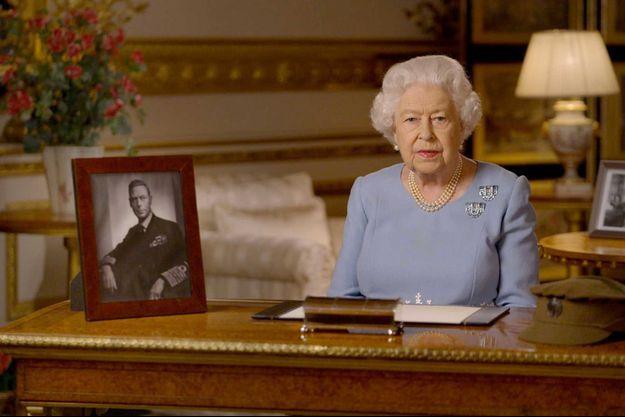 Elizabeth II lors de son discours pour les commémorations du 8-Mai, vendredi.