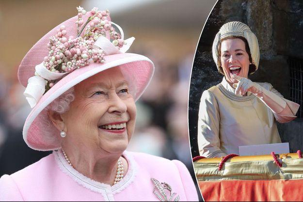 "La reine Elizabeth II le 29 mai 2019. A droite, Olivia Colman incarne la reine Elizabeth II dans la série ""The Crown"""