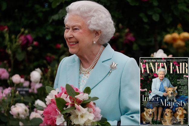 """La reine Elizabeth II, le 23 mai 2016 et couverture du numéro de """"Vanity Fair"""" UK pour ses 90 ans"""