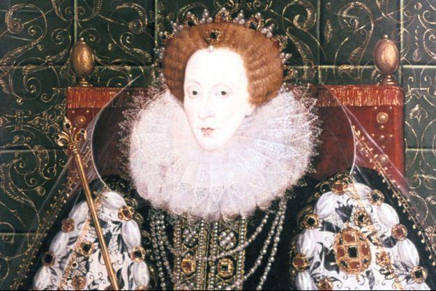 Portrait d'Elisabeth Ire. Ses portraits la représente toujours dans de somptueuses robes et parée de bijoux précieux.