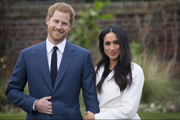 Le prince Harry et Meghan Markle à l'annonce de leurs fiançailles en 2017