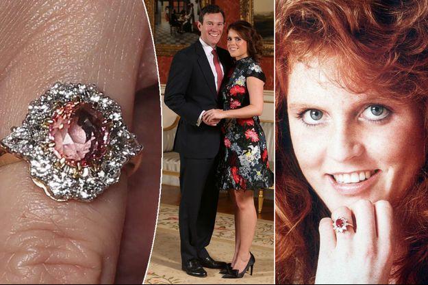 La bague de fiançailles de la princesse Eugenie d'York. A droite, celle de sa mère Sarah Ferguson