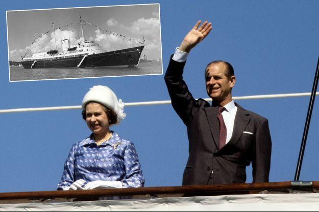 La reine Elizabeth II et le prince Philip à bord du Britannia au Koweït en 1979. En vignette, le Britannia dans les années 1960