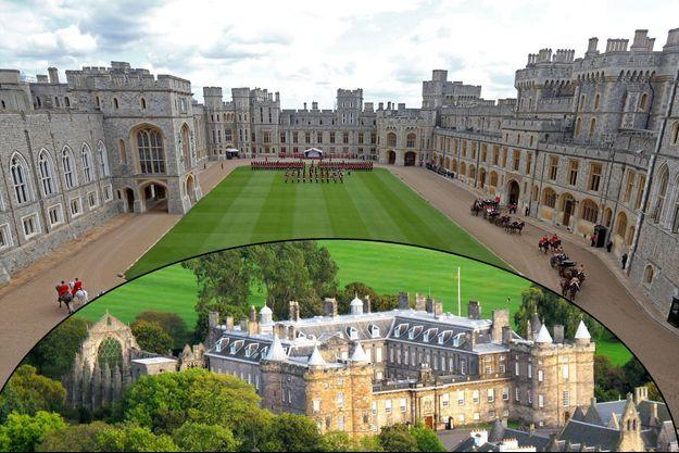 Le château de Windsor en juin 2014. En bas, Holyroodhouse Palace à Edimbourg en septembre 2014