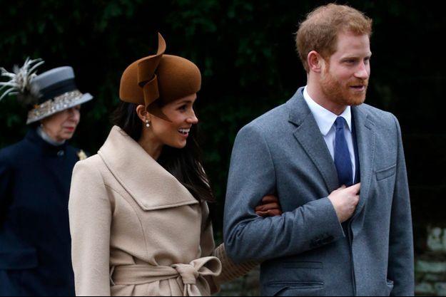 Meghan Markle et le prince Harry à Sandringham, le 25 décembre 2017