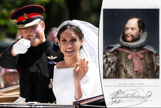 Prince Harry et Meghan Markle, le duc et la duchesse de Sussex. A droite : le prince Augustus Frederick, 1er duc de Sussex