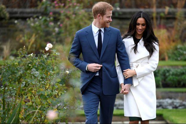 Harry et Meghan à l'annonce de leur fiançailles, en novembre 2017.