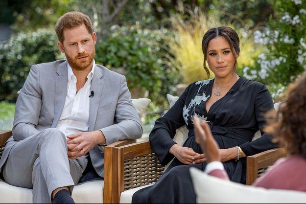 Harry et Meghan lors de leur interview pour Oprah diffusée en mars 2021