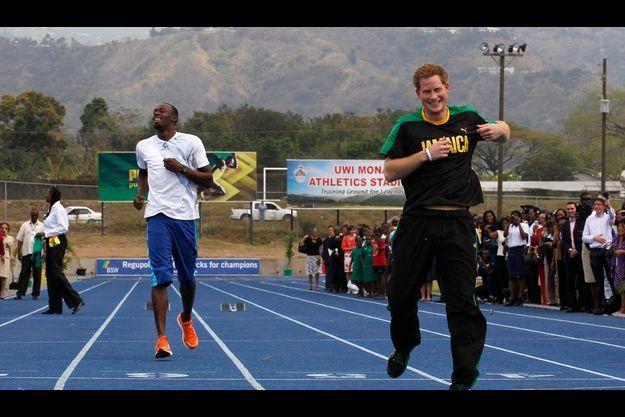 Mardi 6 mars. Sur le stade de l'université des Caraïbes en Jamaïque avec Usain Bolt, l'homme le plus rapide du monde... après Harry.