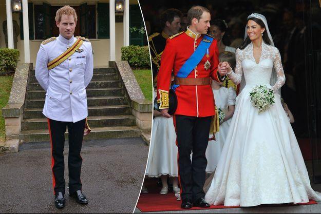 Le prince Harry en uniforme le 6 avril 2015 - Le prince William et Kate Middleton le 29 avril 2011