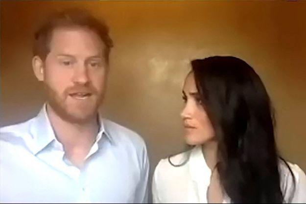 Meghan Markle et le prince Harry en visioconférence en juillet 2020.