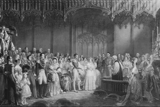 Le mariage de la reine Victoria et du prince Albert, gravure de 1911