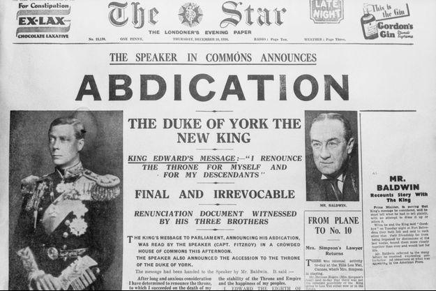 """L'abdication d'Edward VIII fait la une des journaux britanniques le 11 décembre 1936. Ici """"The Star"""""""