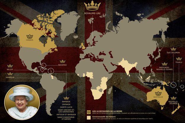 "La carte des 16 royaumes de la ""reine d'Angleterre"" Elizabeth II"
