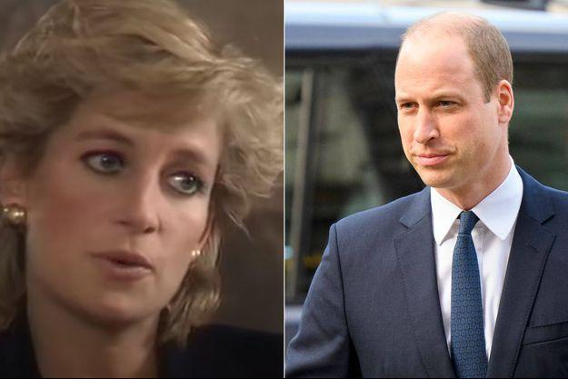 La princesse Diana lors de sa fameuse interview en 1995 et le prince William en décembre 2019.