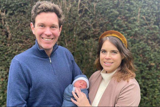 La princess Eugenie d'York et son mari Jack Brooksbank et leur bébé August Philip Hawke Brooksbank.