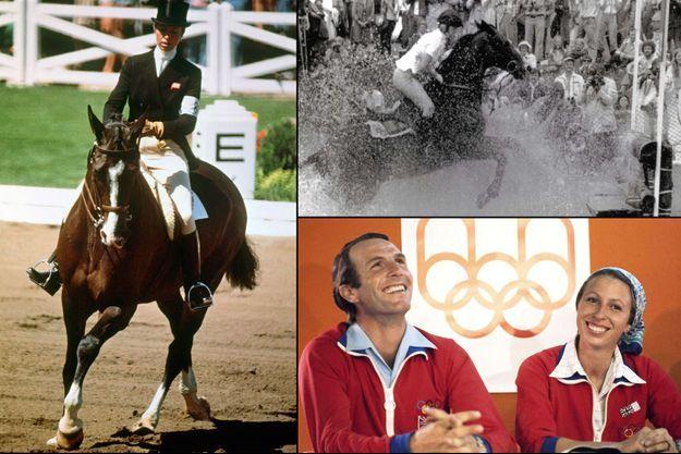 La princesse Anne aux Jeux olympiques de Montréal en juillet 1976. En bas à droite, avec son mari Mark Phillips.