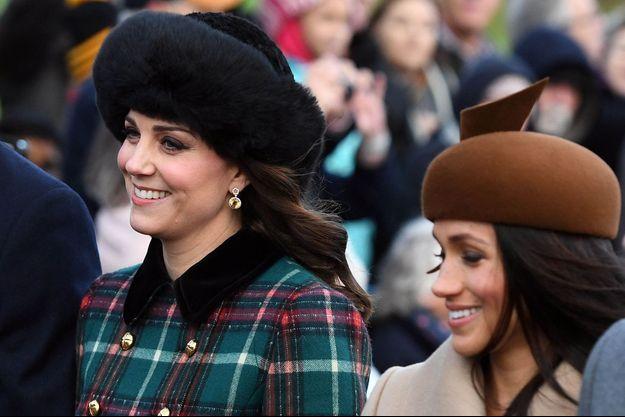 Kate Middleton et Meghan Markle à Sandrigham, le 25 décembre 2017