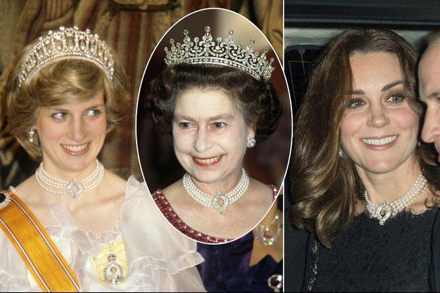 Lady Diana en 1982, la reine Elizabeth II en 1983 et Kate Middleton le 20 novembre 2017