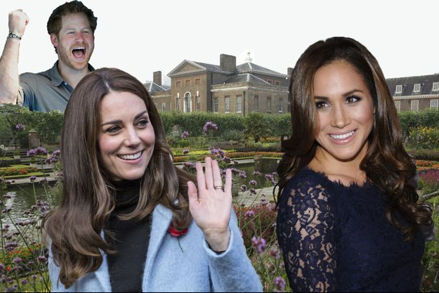 Kate, Meghan et Harry devant Kensington palace - photomontage