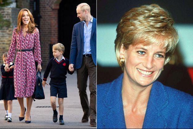 Kate, William et leurs enfants George et Charlotte lors de la rentrée des classes en septembre 2019. A droite, la princesse Diana en 1996.