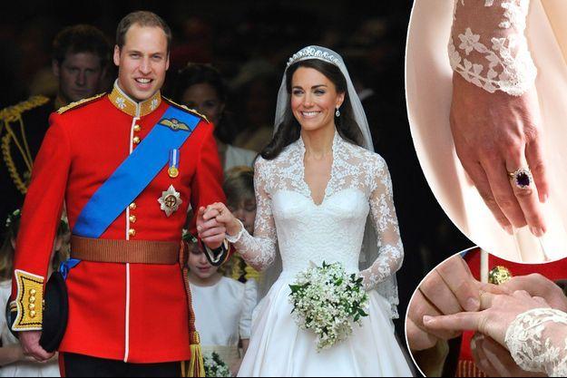 Détail du vernis à ongles de Kate Middleton, le jour de son mariage avec le prince William, 29 avril 2011