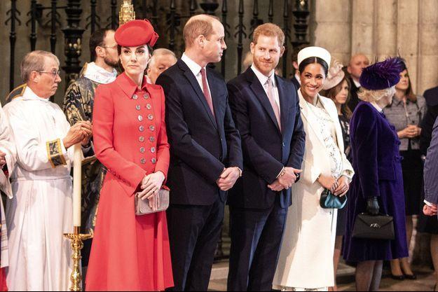 Kate Middleton, le prince William, le prince Harry et Meghan Markle à l'abbaye de Westminster à Londres le 11 mars 2019
