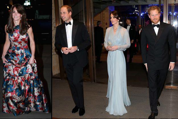 La duchesse de Cambridge Catherine à Londres le 27 octobre 2015 (à gauche) et le 26 octobre 2015 avec les princes William et Harry (à droite)