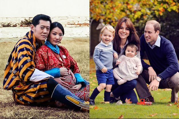 Le roi Jigme Khesar Namgyel Wangchuck et sa reine Jetsun Pema enceinte, le prince William et la duchesse de Cambridge avec leurs enfants le prince George et la princesse Charlotte.
