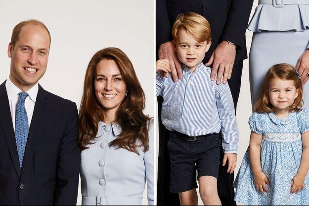 Kate Middleton, le prince William et leurs deux enfants George et Charlotte posent pour leur photo officielle de Noël.