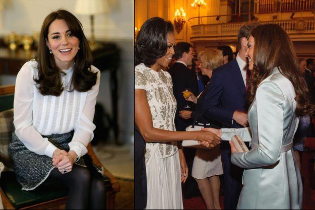 """La duchesse de Cambridge rédactrice en chef du """"Huffington Post"""" le 17 février 2016 a pu compter sur le soutien de Michelle Obama. À gauche: les deux femmes à Londres, le 27 juillet 2012"""