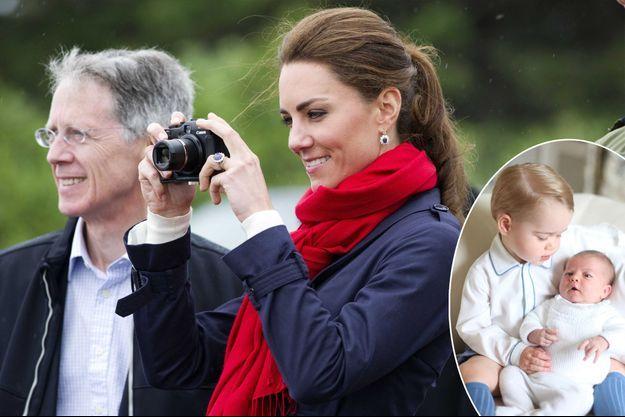 Kate Middleton photographe, lors de son premier voyage officiel au Canada, le 4 juillet 2011. En médaillon: Portrait de Baby George et de la princesse Charlotte