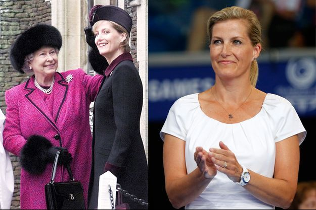 Sophie de Wessex, avec la reine Elizabeth II, à Sandringham le 27 décembre 2002, et à Glasgow le 25 juillet 2014