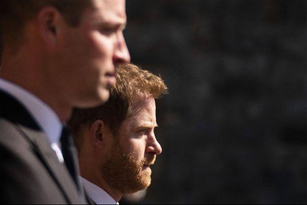 Harry et William lors des obsèques du Prince Philip le 17 avril.